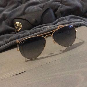 Ray Ban Polarized Aviator Gold Sunglasses
